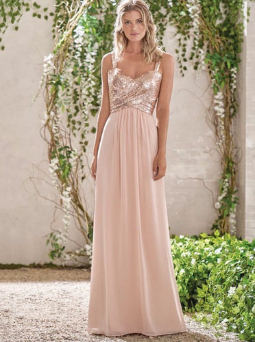 Straps Sequins Pearl Pink Long Prom Dress Cowl Back Chiffon Bridesmaid Dress OP1016