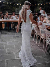 Boho Lace Wedding Dresses Mermaid Backless Bridal Gown With Sleeve OW522