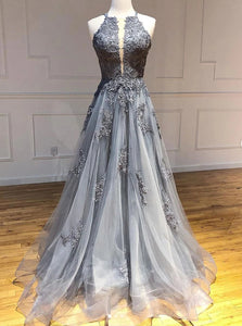 Tulle Gray Long Prom Dresses, Appliqued Backless Formal Evening Dress PO093