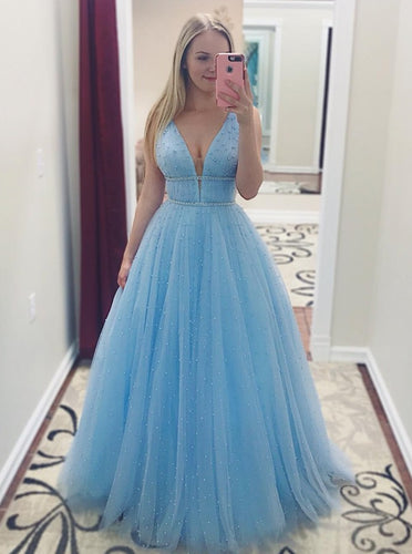 A-Line V-Neck Long Light Blue Prom Dresses with Beading PO020