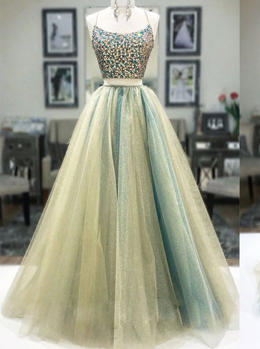Spaghetti Straps Two Tones Two Piece Prom Dresses Backless Long Evening Gown OP852