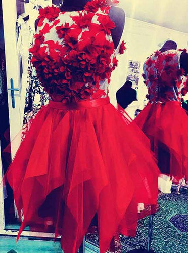 Red Round Neck Tulle Short Prom Dress, Appliques Homecoming Dress OM401