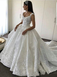 Ball Gown Straps Sweetheart Wedding Dresses Lace Appliques Bridal Dresses OW566