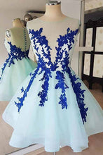 Baby Blue Tulle Short Prom Dress, Homecoming Dress With Blue Appliques OM402