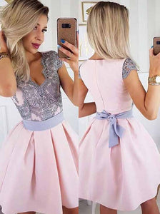 Cute A-line Pink Satin Short Prom Dress, Appliques Homecoming Dress OM392
