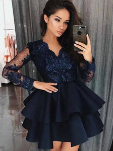 Dark Blue Long Sleeves Satin Short Prom Dress, Appliques Homecoming Dress With Tiered OM393