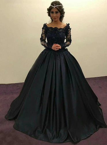 Navy Blue Ball Gown Long Sleeves Prom Dress Quinceanera Dresses PO146