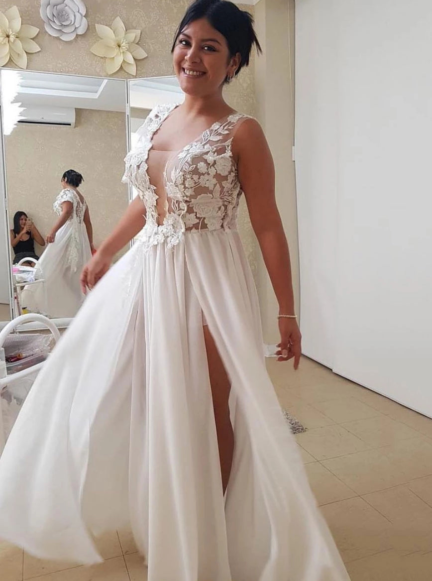 A-line Long Prom Dress With Appliques, Chiffon Beach Wedding Dress OP1005