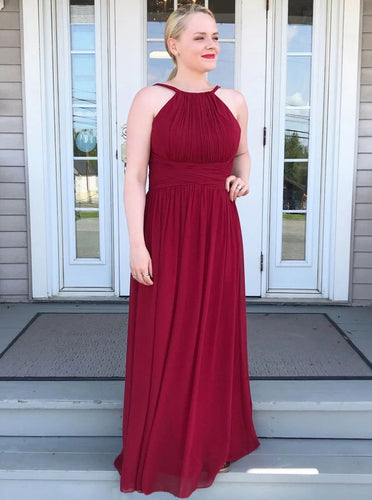 High Neck Chiffon Burgundy Bridesmaid Dress, Long Prom Party Dress OB277