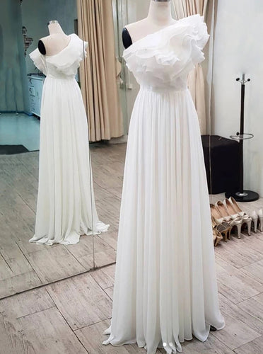 One Shoulder Ruffles Long Prom Dress, Chiffon Long Formal Dress OP1004
