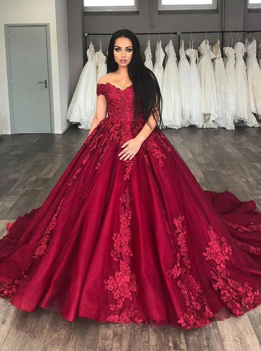 Princess Off-Shoulder Ball Gown Burgundy Prom Dresses with Appliques OP1002