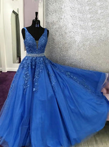 A-line V-neck Blue Long Prom Dress Appliques With Beading OP1000