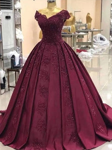 Off-Shoulder Grape Ball Gown Appliques Prom Dresses OP1001