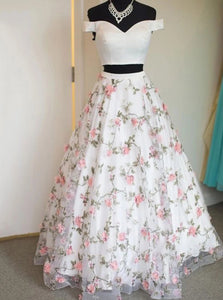 Off-Shoulder Two Piece Appliques Prom Dress, Floral Long Graduation Dress OP1003