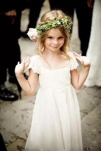 Cap Sleeves Lace Chiffon Beach Flower Girl Dresses With Bowknot OF123
