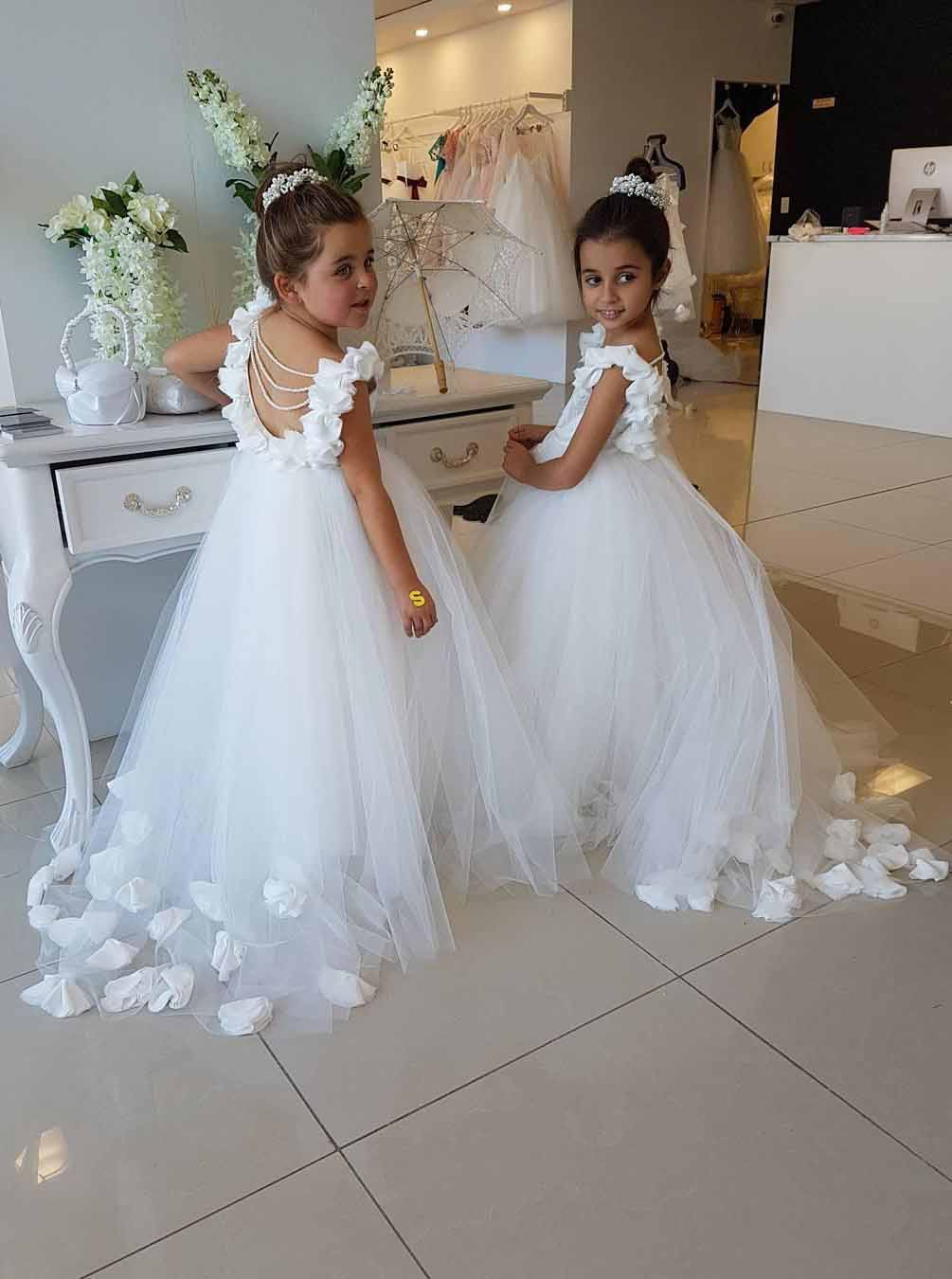 Princess Scoop Ruffles Tulle Flower Girl Dresses Pearls Backless Birthday Party Dresses OF129