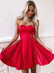 Red Sweetheart Satin Homecoming Dress, Short Prom Dress With Lace-Up Back OM362