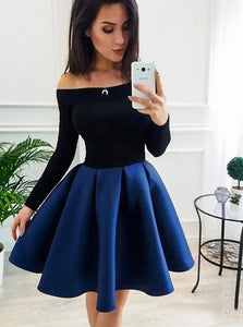 Off-Shoulder Long Sleeves Royal Blue Short Prom Homecoming Dress OM394
