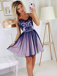 Spaghetti-straps Tulle Short Prom Dresses Appliques Homecoming Dress OM371