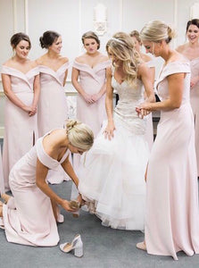 Simple Off Shoulder Sheath Pink Bridesmaid Dresses With Slit OB307