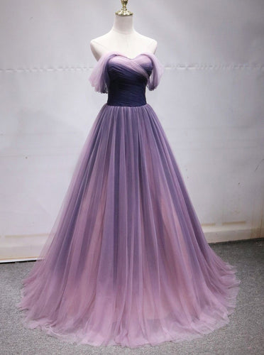 Off Shoulder Tulle Long Ombre Prom Dresses, Princess Formal Gown OP870