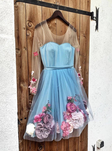 Blue Short Prom Dresses Long Sleeve Homecoming Dress With 3D Appliques OM539
