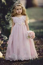 Princess Scoop Neckline Blush Pink Flower Girl Dress With Appliques OF126