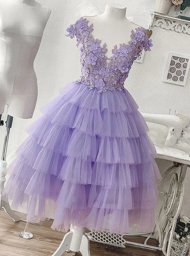 Tulle Applique Lilac Short Homecoming Dress, Princess Layered Sweet 16 Dress OM403
