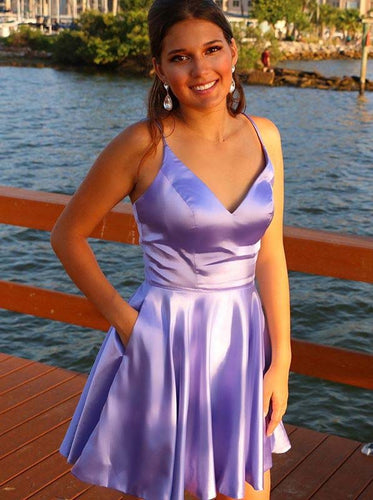 A-line V-neck Lilac Short Prom Dresses, Simple Homecoming Dress With Pocket OM447