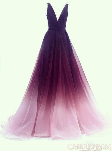 A-line V-neck Tulle Ombre Long Prom Dresses Simple Formal Gown PO013