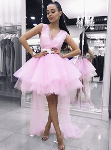 Sweet V-neck Pink Homecoming Dress Short Prom Dresses With Tulle Train PO014