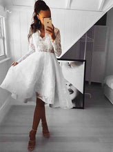 Lace Long Sleeves Short Prom Dress, Open Back Homecoming Party Dress OM411