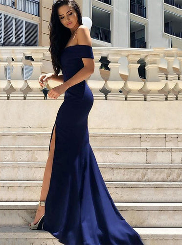 Off Shoulder Mermaid Sleeveless Dark Blue Evening Dress With Split OP865