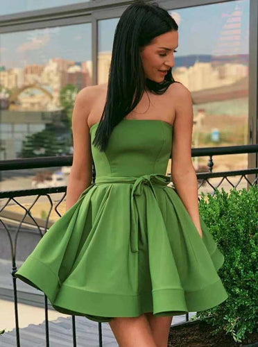 Green Strapless Homecoming Dresses Simple Short Prom Dress OM533