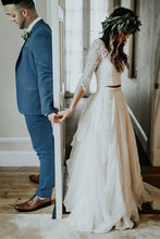 Lace 3/4 Sleeve Wedding Dresses Chiffon Two Piece Beach Bridal Dress OW515
