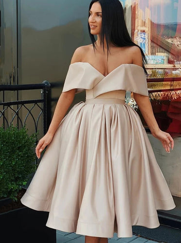 Simple Off Shoulder Short Homecoming Graduation Dresses Party Dress OM529