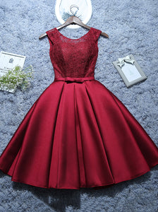 Burgundy Short Evening Dress Satin Lace A-line Short Homecoming Dress OM542