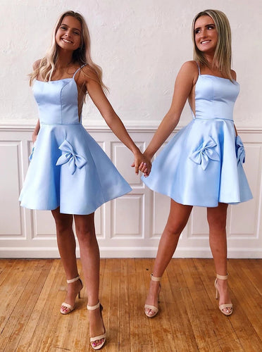 Satin Spaghetti Sky Blue Homecoming Dresses With Bow-knot Pockets OM555