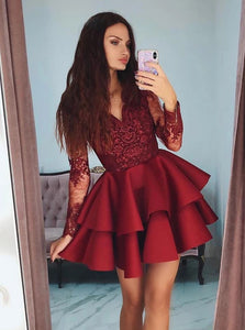 Burgundy Short Homecoming Dresses Short Prom Dress With Sleeves OM538