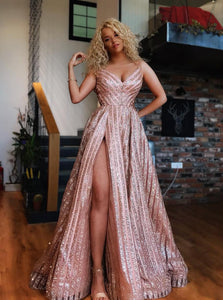 Rose Gold Sequins Long Prom Dresses, V Neck Spaghetti Evening Dress With Split OP900