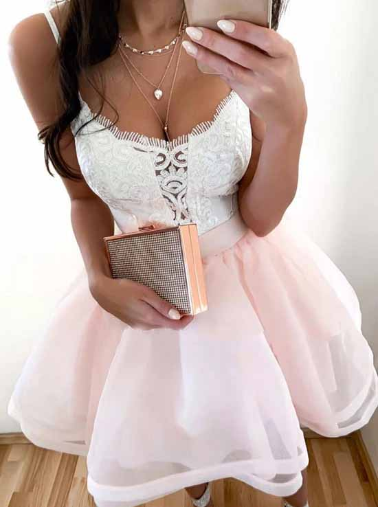 A-line Spaghetti-straps Pink Short Homecoming Party Dress OM395