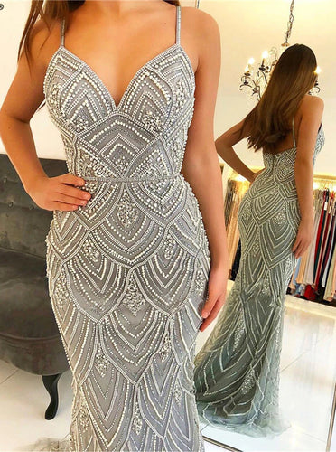 Mermaid Long Prom Dress With Beads Spaghetti Formal Evening Dresses PO009