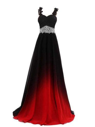 Gradient Chiffon Evening Dresses Ombre Long Prom Dress With Beaded PO021