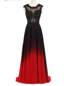 Round Neck Lace Applique Top Chiffon Black & Red Ombre Prom Formal Dresses PO022
