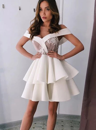 Off Shoulder A-line Ivory Homecoming Party Dress With Layers OM516