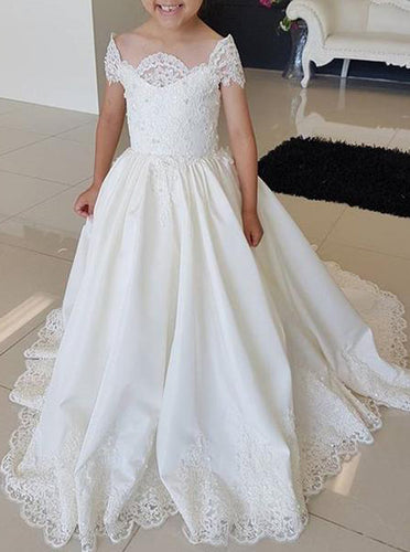 Off-Shoulder Cap Sleeves Long Flower Girl Dress With Lace Appliques OF132