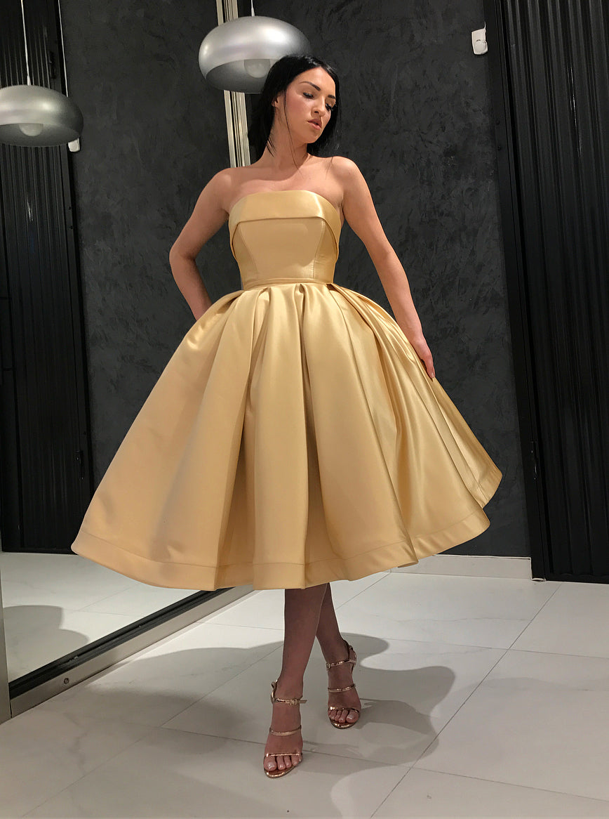 Gold Short Prom Homecoming Dresses Simple Strapless 8th Graduation Dresses OM487