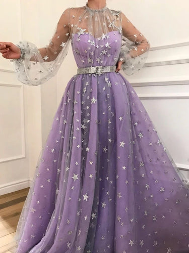 Long Puff Sleeves Starry Night Star Beaded Long Prom Dresses OP871