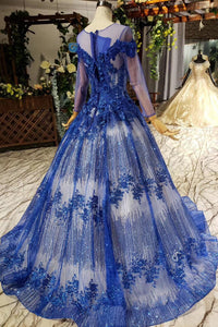 Sheer Neck Tulle Blue Ball Gown Beaded Applique Long Sleeve Prom Dresses OP872