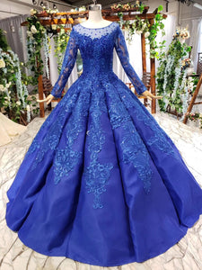 Long Sleeve Prom Dress Sheer Scoop Neck Quinceanera Dress With Beaded Applique OP873
